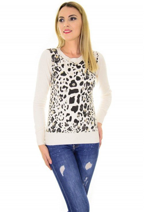 Pulover Animal Print Design Ivory