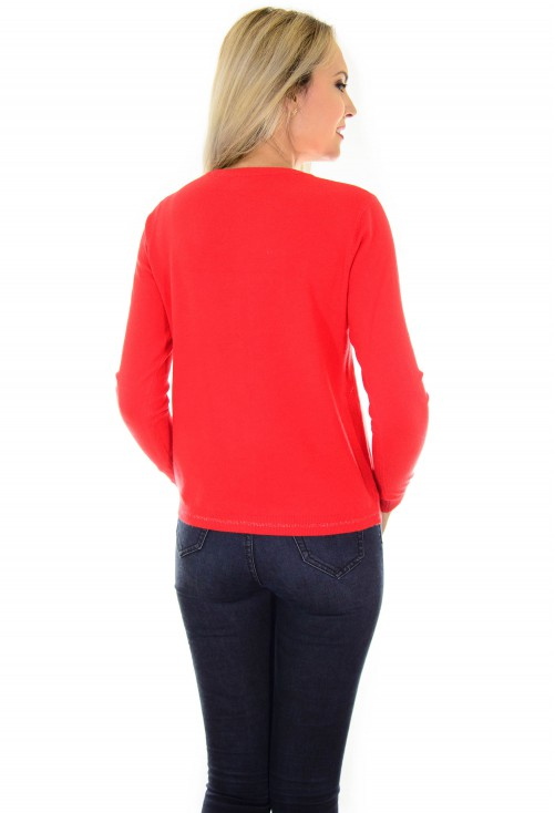Cardigan Funny Buttons Red