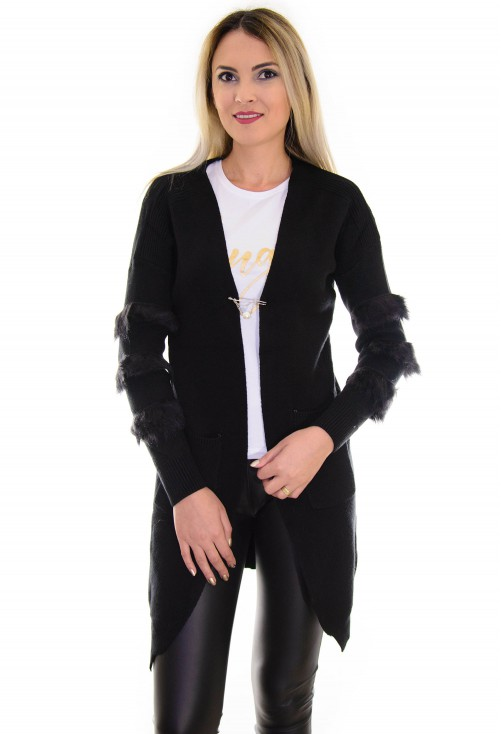 Cardigan Fluffy Sleaves Black