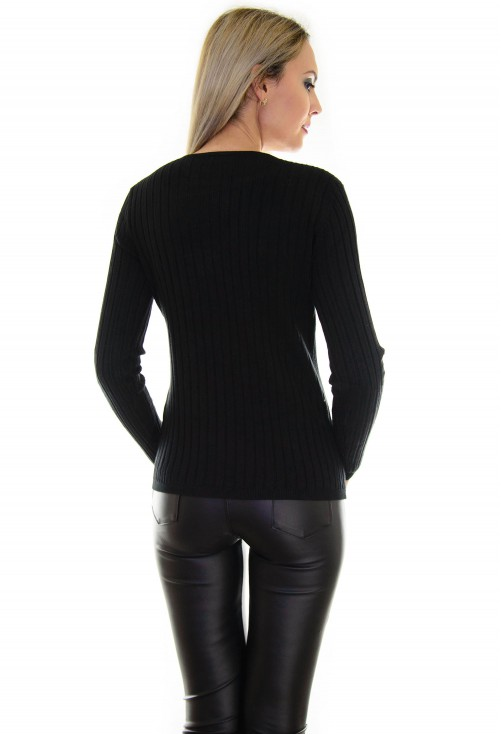 Cardigan Lateral Zipper Black
