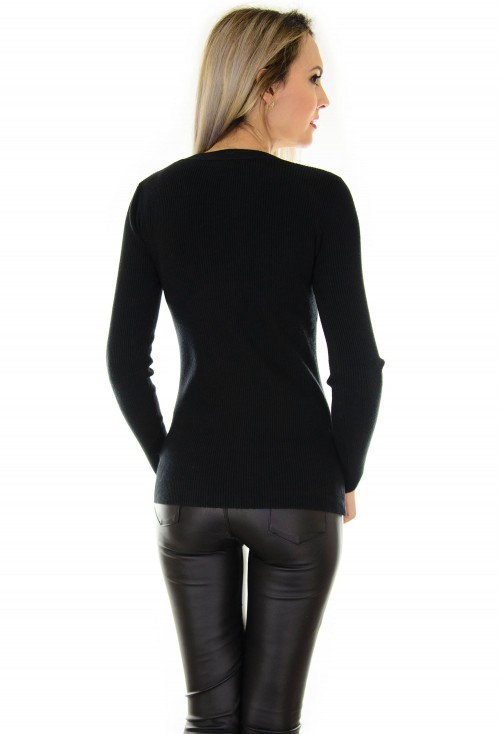 Pulover Neck Buttons Black