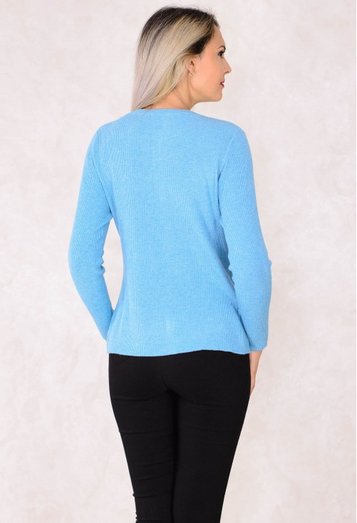 Cardigan Simple Pockets Blue