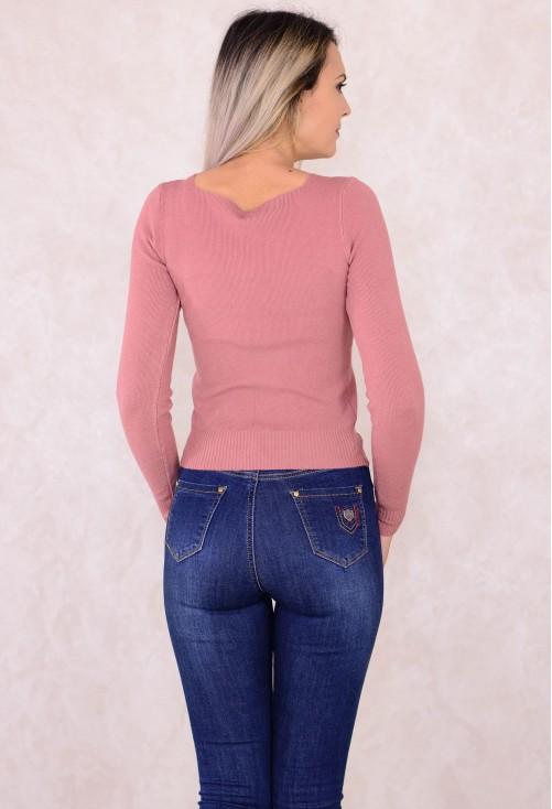 Pulover Heart Neckline Pink