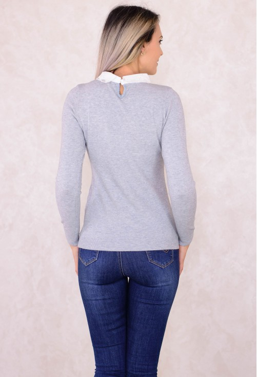 Pulover Sublime Neck Grey
