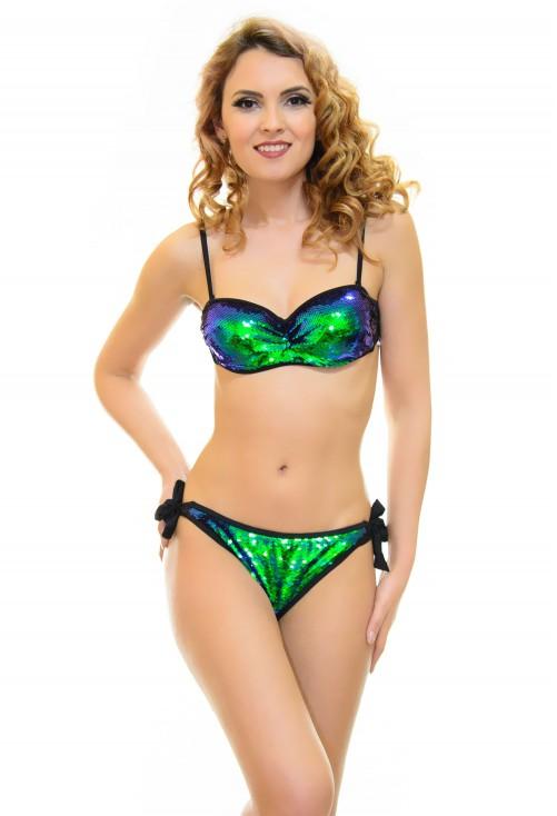 Costum De Baie Breaking Sparkle Green Cameleon