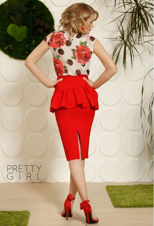 Fusta Pretty Girl Peplum Red