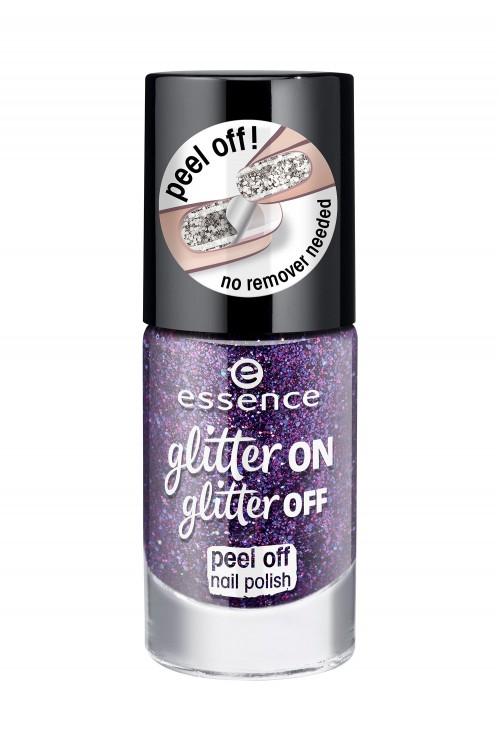 Lac De Unghii Peel Off Essence Glitter On Glitter Off