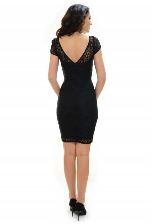 Rochie Ella Collection Covered In Lace Black
