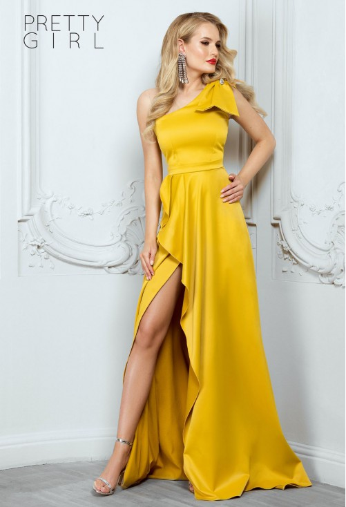 Rochie Pretty Girl Festive Night Mustard