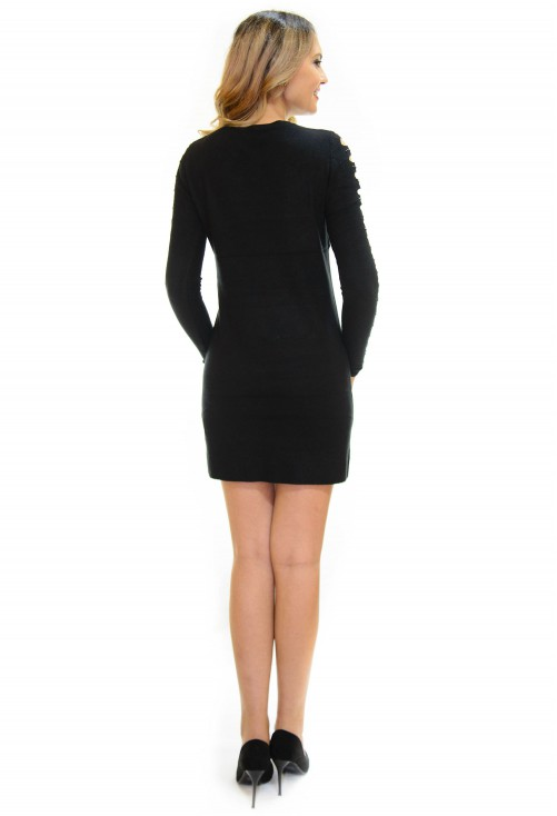 Rochie Tricotata Smart Shoulder Black