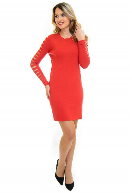 Rochie Tricotata Smart Shoulder Red
