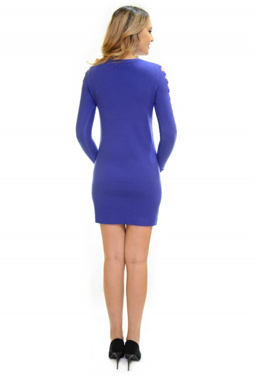 Rochie Tricotata Smart Shoulder Blue