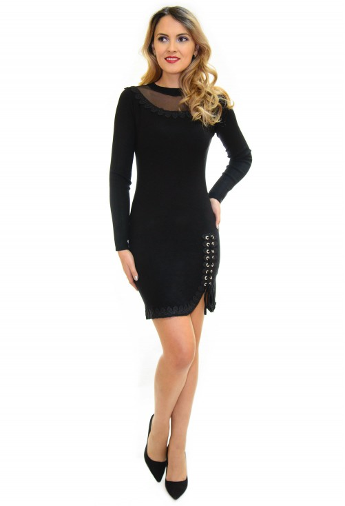 Rochie Tricotata Lace Up Black