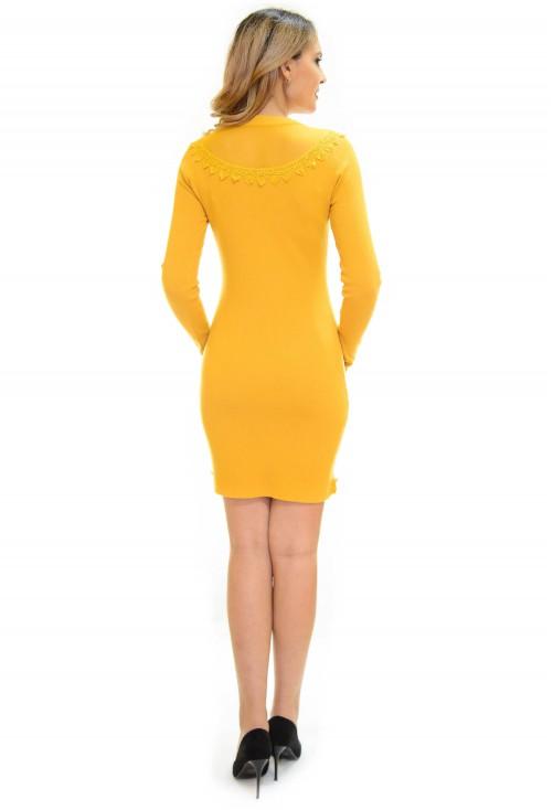 Rochie Tricotata Lace Up Mustard