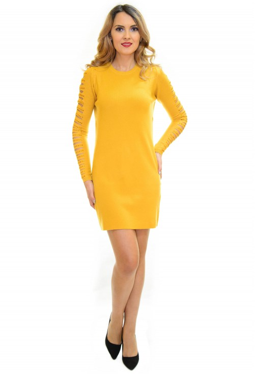 Rochie Tricotata Smart Shoulder Yellow