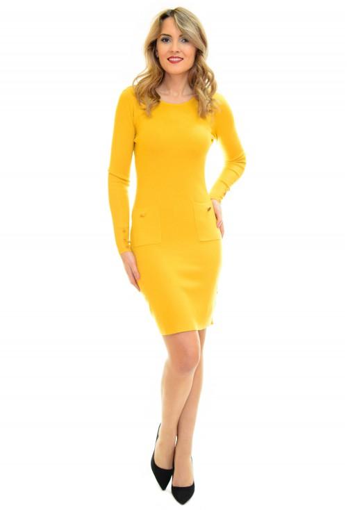 Rochie Tricotata Golden Button Yellow