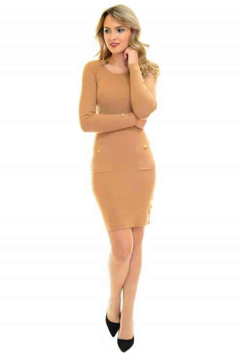 Rochie Tricotata Golden Button Brown