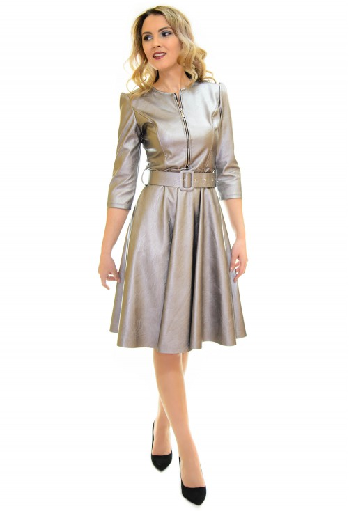 Rochie Fitting Leather Silver