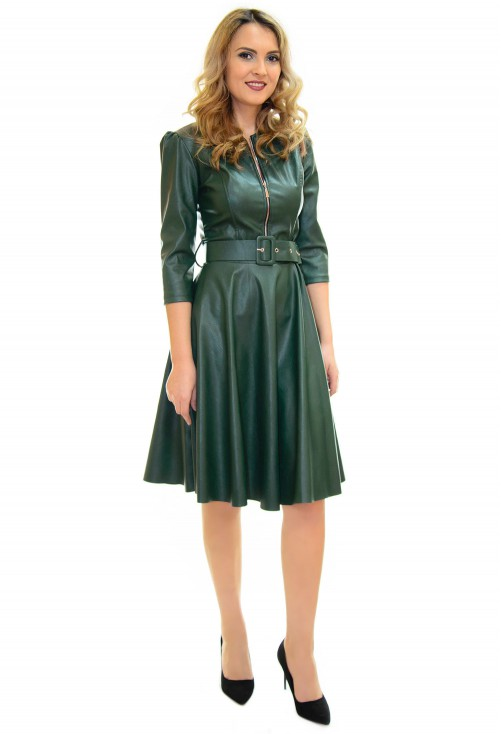 Rochie Fitting Leather Green
