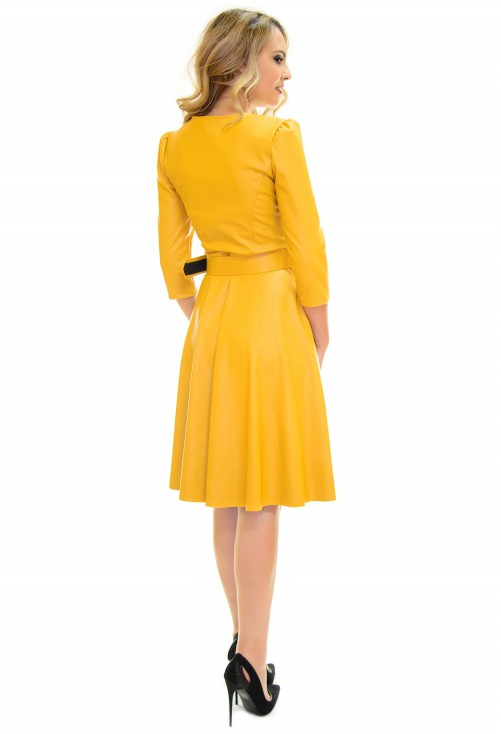 Rochie Fitting Leather Yellow