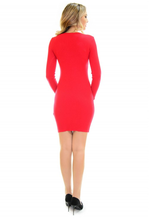 Rochie Tricotata Special Chains Red