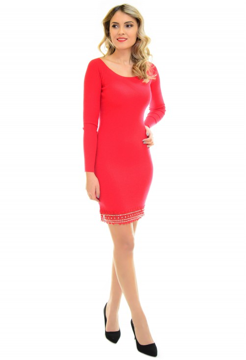 Rochie Tricotata Flower Base Red