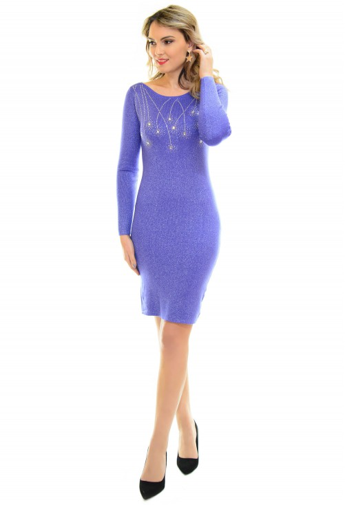Rochie Tricotata Crystal Drops Blue