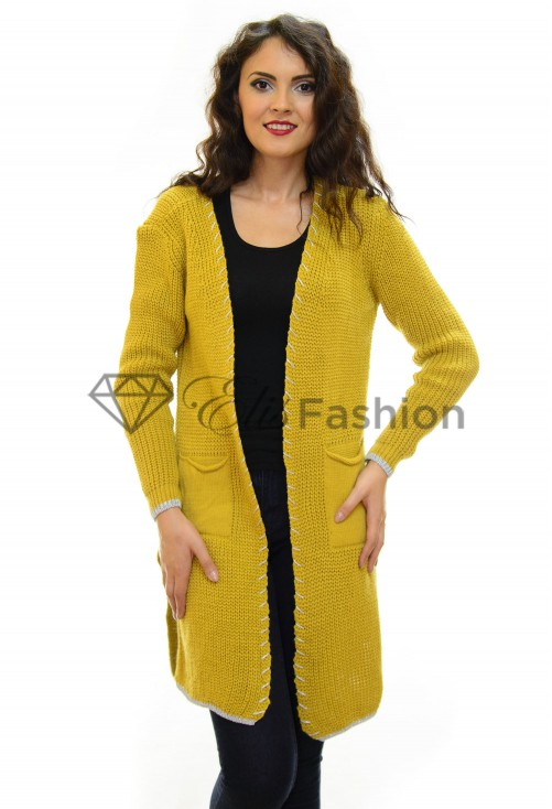 Cardigan One Option Mustard