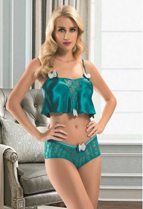 Compleu Sexy Bow Turquoise #7290