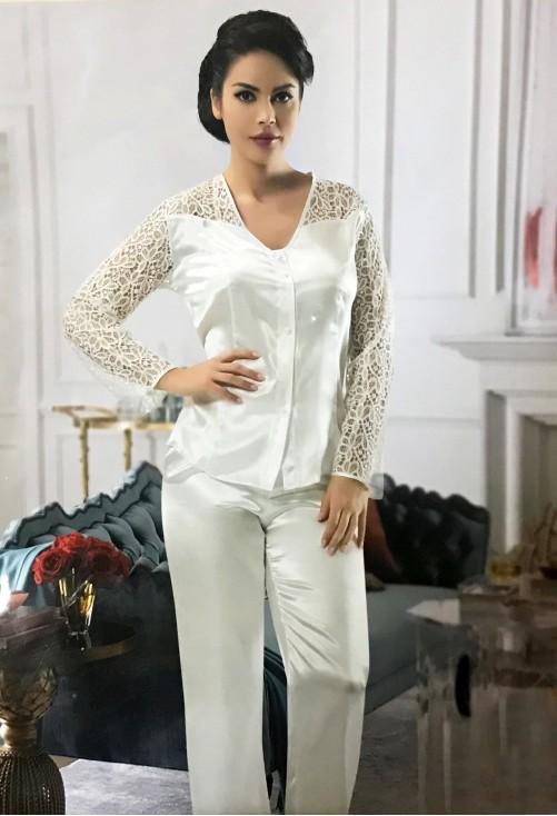 Pijama Silky White #7282