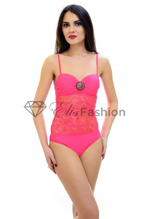 Costum de Baie Lining Knitt Pink