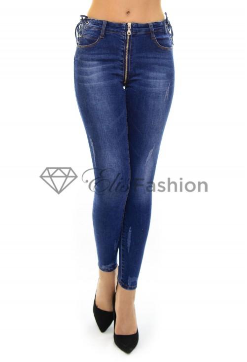 Blugi Long Zipper Blue