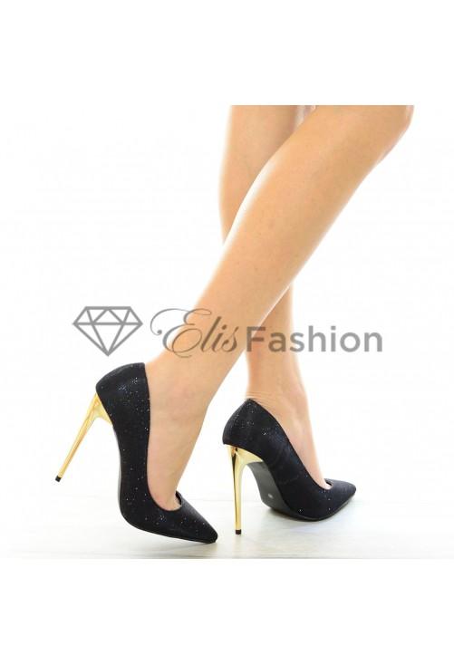 Pantofi Sparkling Gold Black #4020