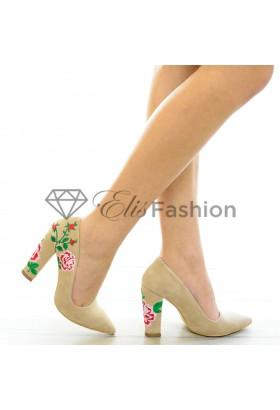 Pantofi Knitted Flower Beige #4157