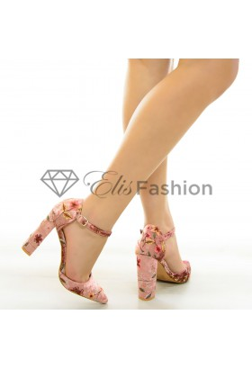 Pantofi Velvet Flowers Pink #6851