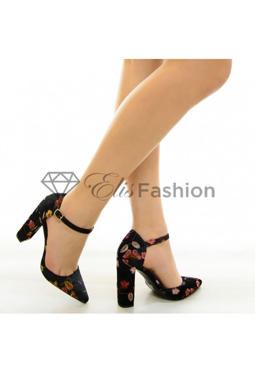 Pantofi Velvet Flowers Black #6852