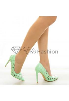 Pantofi Short Flower Mint #6834