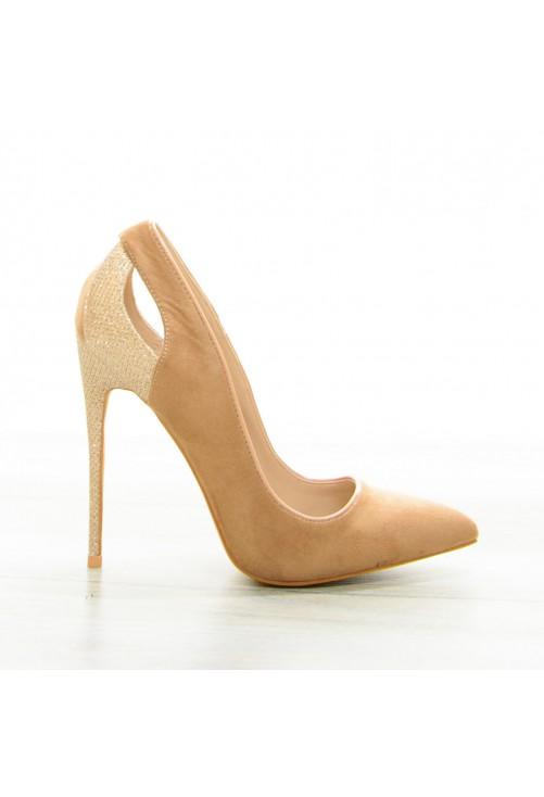 Pantofi Glitter Heel Camel #7068