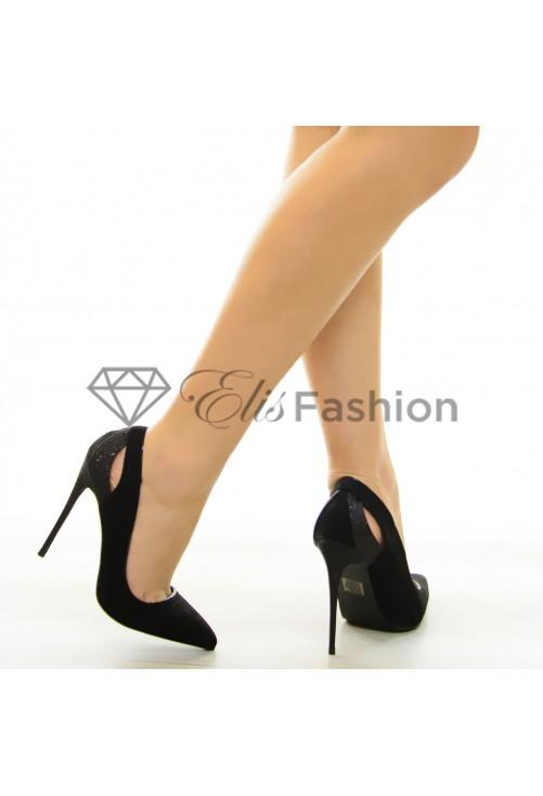 Pantofi Glitter Heel Black #7069