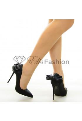 Pantofi Smooth Bow Black #7074