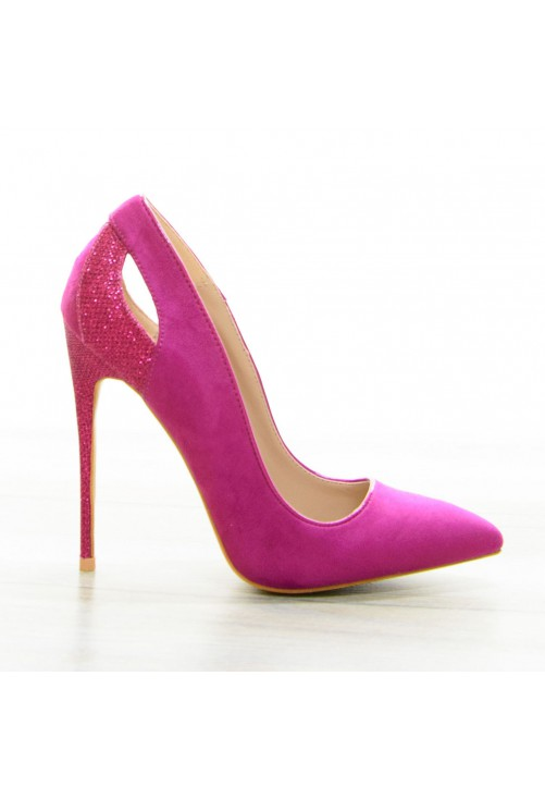 Pantofi Glitter Heel Fuchsia #7075