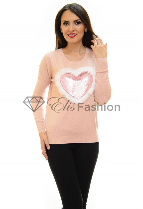 Pulover Fluffy Heart Rose
