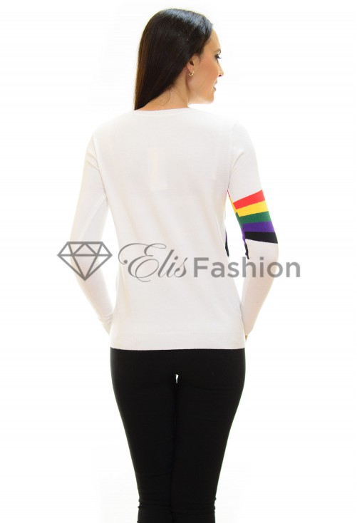 Pulover Inspiration Rainbow White