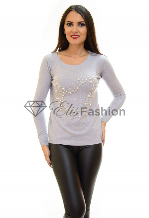 Pulover Sparkling Pearls Grey