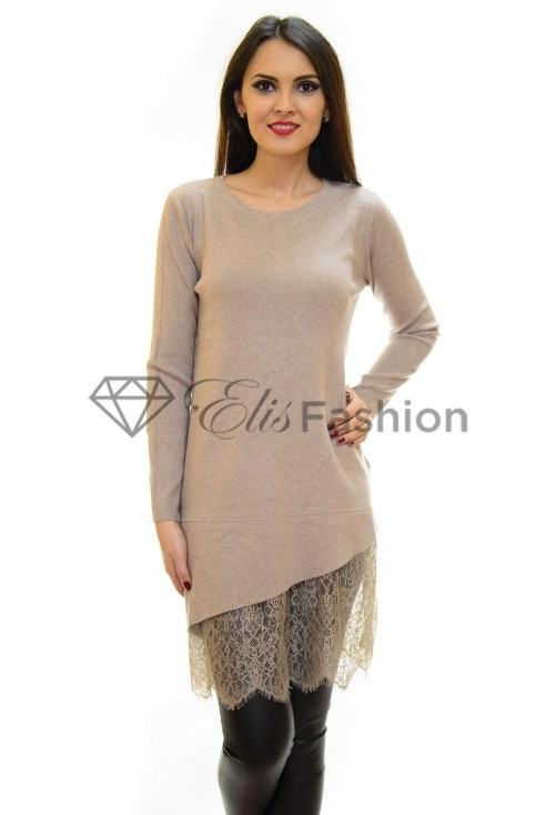 Pulover Lace Theory Beige
