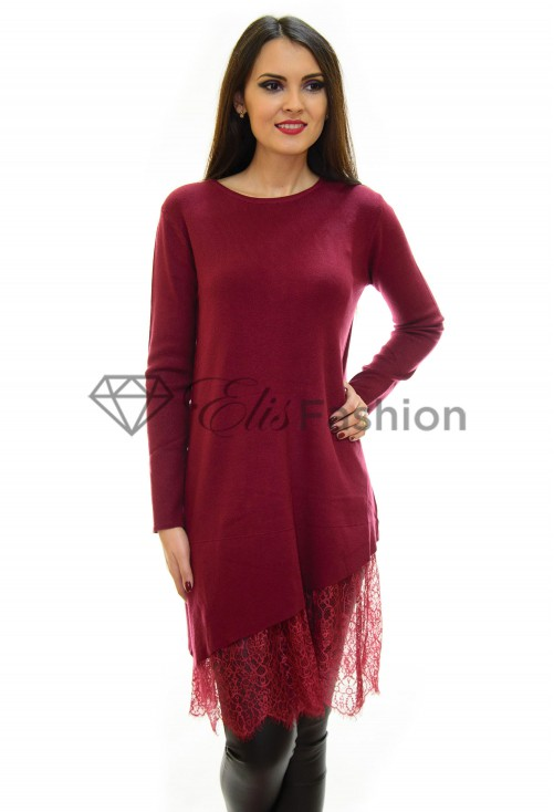 Pulover Lace Theory Burgundy