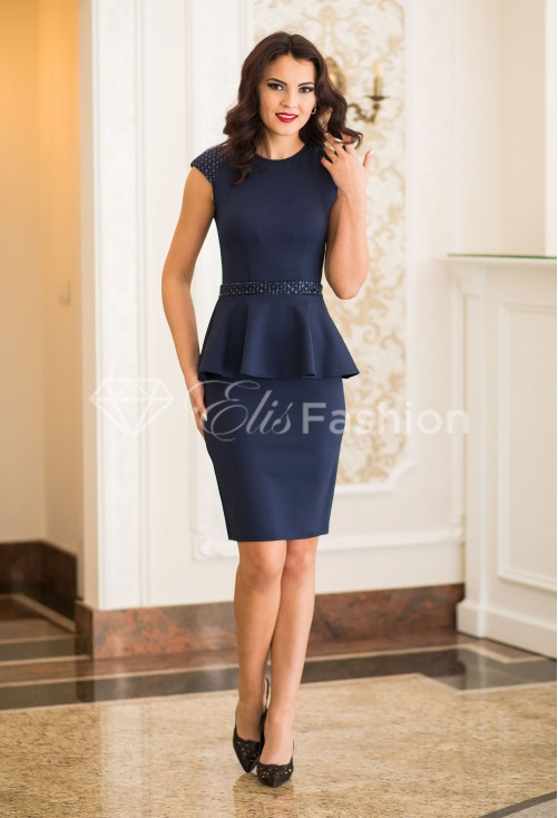 Rochie Ella Collection Sparkle Waist DarkBlue