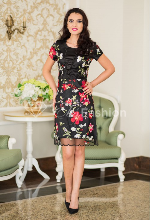 Rochie Ella Collection State Flowers Black