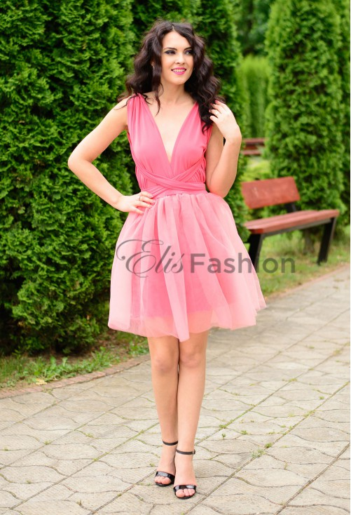 Rochie Versatila cu Tulle Pink