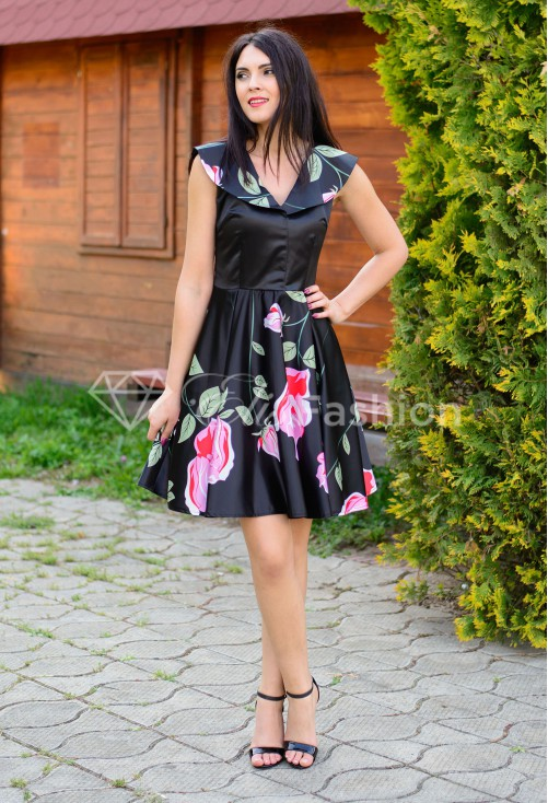 Rochie Ella Collection Rose Base Black